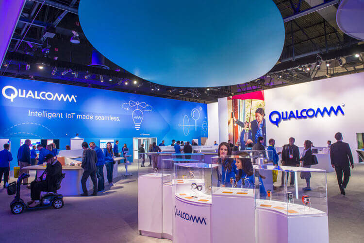 Qualcomm booths showcasing 5G IoT devices
