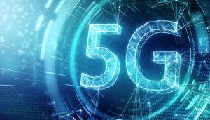 5G Technology Web in Blue