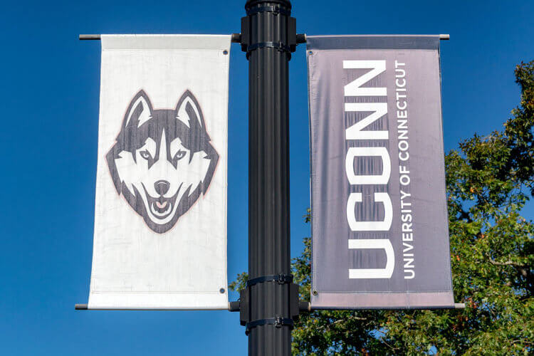 UConn flag on campus