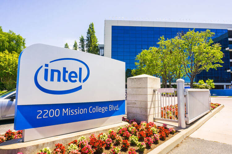 The outside of Intel's Santa Clara headquarters.
