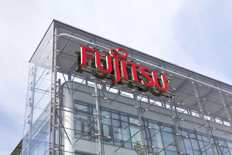 A logo of new DISH Wireless vendor Fujitsu's building.