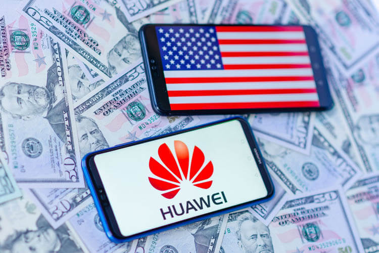 Huawei logo and American flag