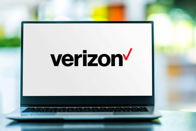 Verizon logo on a laptop