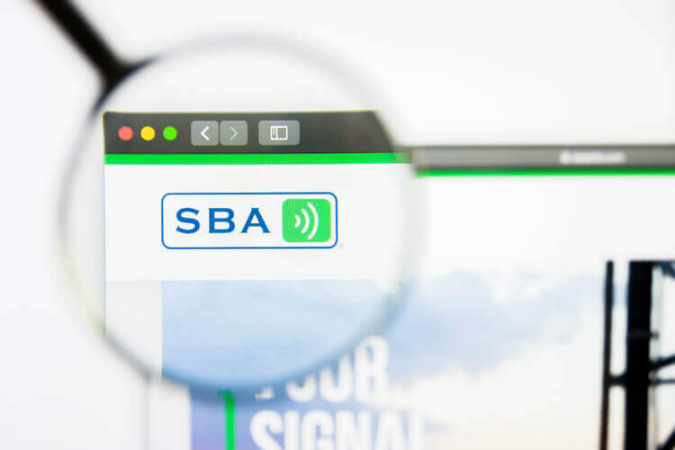 SBA Communications logo on a website