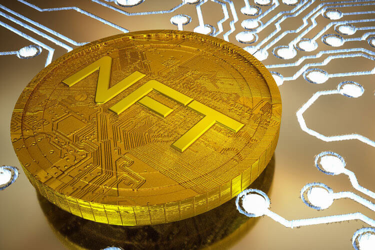 Vector of a cryptocurrency saying NFT