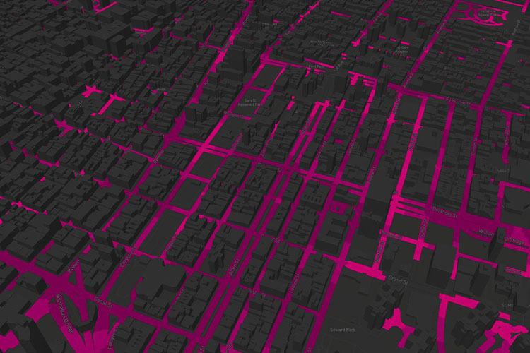 City Streets Abstract in Gray and Pink