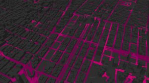 City Grid Cartoon in Gray and Pink